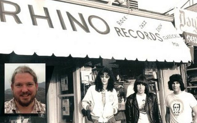 Keith Shapiro (insert) and a vintage photo of the Ramones outside Rhino Records.