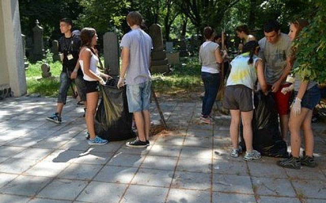 Jewish teens, including four BBYO girls from Pittsburgh, clean up a neglected Jewish cemetery in Bulgaria. Twenty-one Americans were part of the international BBYO mission, which included a visit to Israel. They performed community service projects and met with Bulgarian youth and Holocaust survivors. Several teens from European countries also were part of the excursion. (Photo courtesy of Hannah Frank)