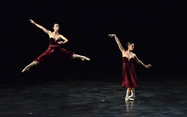 "PBT dancers Elysa Hotchkiss and Eva Trapp perform  ""Maelstrom"" at Karmiel Dance Festival. (Photo by Aimee Waeltz)"