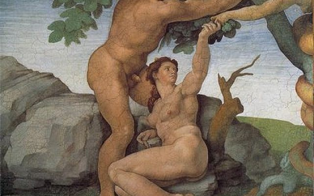 "Adam and Eve commit original sin in the Garden of Eden, as depicted by Michelangelo in this Renaissance era painting. Judaism's view of sin contrasts sharply with Christianity's. Sin is often expressed metaphorically in Jewish liturgy, and many Jews today are uncomfortable with the actual word, ""sin."""