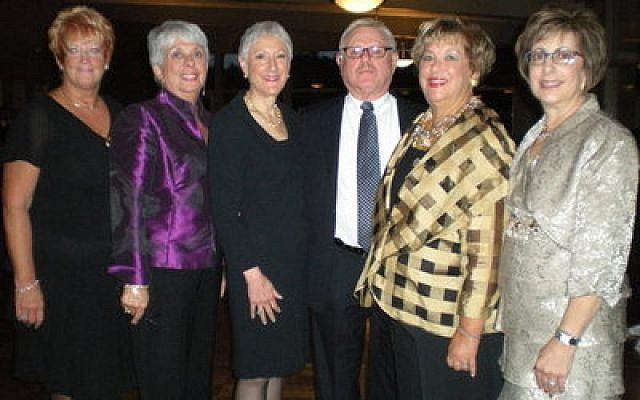 Hadassah's national president, Marcie Natan, attended the Hadassah Centennial Gala here in Pittsburgh. Pictured from left are Gala chairs, Dotty Weisberg and Rosalyn Markovitz; Natan; honorees Louis and Janice Greenwald; and Zandra Goldberg, Hadassah Greater Pittsburgh Chapter president. (Hadassah photos)