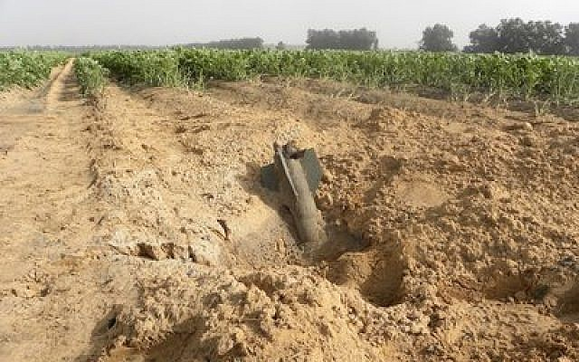 A Gaza rocket in an Eshkol Regional Council field during the latest conflict. (Credit: Ronit Minaker)