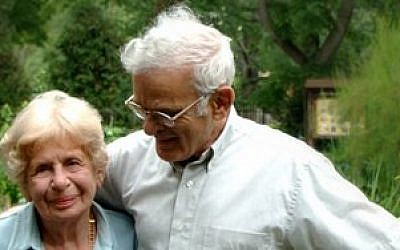 Irene Jacob, shown here with her husband, Rodef Shalom Rabbi Emeritus Walter Jacob, worked together on the Biblical Botanical Garden for more than a quarter century. (Rodef Shalom photo)