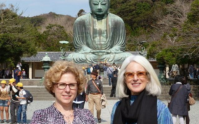 Nancy Zionts and Karen Feinstein in Kamakura, Japan. (Jewish Healthcare Foundation photo)