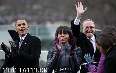 President Barack Obama, First Lady Michelle Obama, and U.S. Sen. Charles Schumer during the presidential inauguration on the West Front of the U.S. Capitol, Jan. 21. (Win McNamee/Getty Images)
