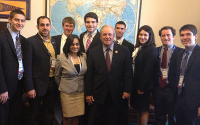 Pittsburgh delegates to last week's AIPAC Policy Conference in Washington, D.C., including rabbis, college students and J-Burgh young professionals, fanned out across Capitol Hill to meet their area congressmen and lobby on Israel's behalf. Pictured are the delegations that visited U.S. Reps. Mike Doyle, above, (D-Swissvale) and Tim Murphy, below, (R-Upper St. Clair). This year, all 535 Members of Congress were lobbied by AIPAC delegates. Pictured with Doyle, center, from left, are Andrew Horvitz of Pittsburgh; Aharon David, Hillel JUC; Herman and Hellen Lipzitz, Israel Fellow; Noah Tankin, University of Pittsburgh; Christina Das, Campus Democrats, Pitt; Zach Schaffer, Pitt; Sam Hantverk, Pitt; Carolyn Slayton, J'Burgh; Josh Glass, J'Burgh; and Jacob Horvitz of Pittsburgh. Pictured with Murphy are, from left, Rabbis Amy and Alex Greenbaum, Melody Mostow, Dana Sufrin, Tony Satryan, Cheryl Moore, Charlene Tissenbaum, Jennifer Olbum and Felicia Tissenbaum. (Chronicle photos by Jim Busis)