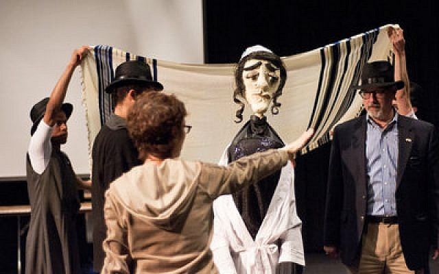 "Choreographer Joan Wagman orchestrates a dance routine with her performers, including Leon Zionts, on right,  during a rehearsal for ""The Dybbuk"" at the Hillman Center for the Performing Arts. The ""bridegroom"" puppet is played by 10-year-old Celia Cangiano. (Chronicle photo by Ohad Cadji)"