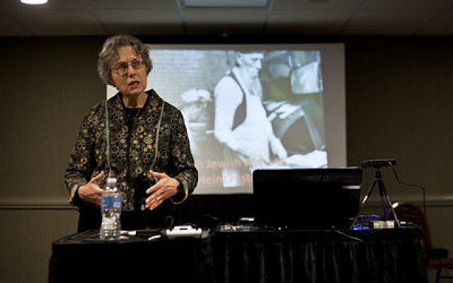 Susan Melnick, archivist with the Rauh Jewish Archives in Pittsburgh, spoke about her organization's work archiving documents from the Jewish communities of western Pennsylvania. (Chronicle photos by Ohad Cadji)