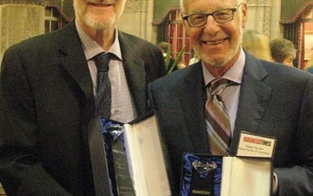 Aryeh Sherman, left, and Edgar Snyder with their Diamond Awards