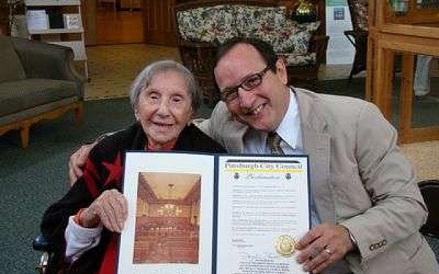 Evelyn Kozak accepting Pittsburgh City Council Proclamation from Councilman Doug Shields. (Photo by Jennifer McCay)