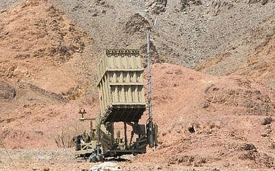 The Iron Dome battery in Eilat, which on Tuesday intercepted a rocket launched by a Palestinian terrorist group for the first time. (Credit: Flash90)