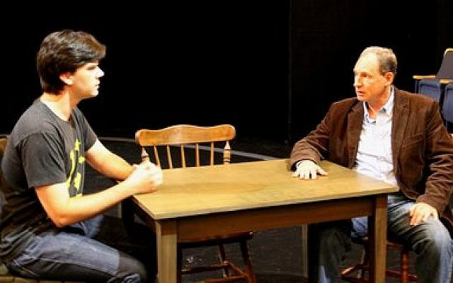 "Patrick Cannon, left, plays George Gibbs and Marc Epstein plays Mr. Webb, his father-in-law to be, in a rehearsal for Pittsburgh Public Theater's production of ""Our Town."" (Pittsburgh Public Theater photo)"