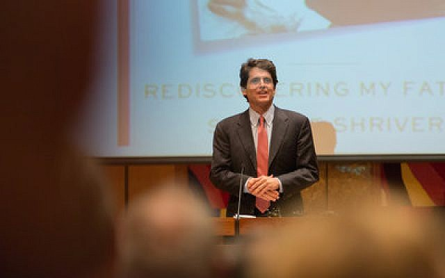 """Mark Kennedy Shriver, a son of Sargent and Eunice Kennedy Shriver, addressed last week's annual meeting of the Jewish Association on Aging at Rodef Shalom Congregation. Shriver, the featured speaker, has just written a book about his late father, who battled Alzheimer's disease for the last 10 years of his life, titled """"A Good Man."""" (Josh Franzos photos)"""