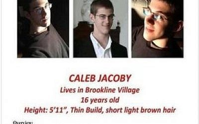 The missing persons flier for Caleb Jacoby, 16, which is being distributed by volunteers. (Credit: Brookline Police)