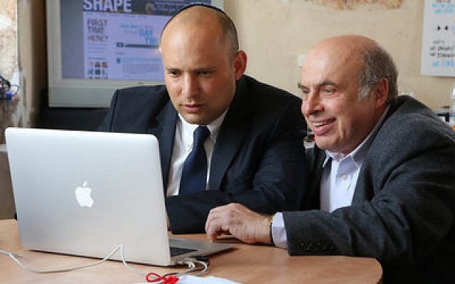 Minister of Jerusalem and Diaspora Affairs Naftali Bennett, on left, and the Jewish Agency Chairman Natan Sharansky join the online jam session in Jerusalem. (Credit: Sasson Tiram)