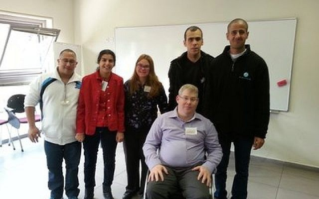 Standing from left to right, at the second annual Israel Self-Advocacy Conference in Jerusalem, are Asaf Buzaglo, Avital Ohayun, Simona Idan, Shai Asuline and Dudu Cheftzadi. Sitting is Yoav Kreim, a well-known leader and spokesperson for people with disabilities in Israel for more than 20 years. (Credit: Courtesy of the Ruderman Family Foundation)