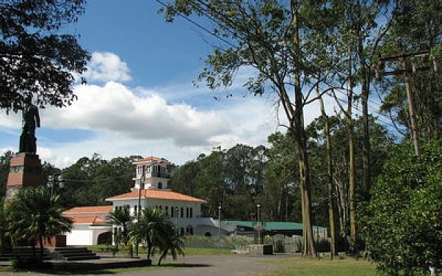 The Museum of Costa Rican Art, where a menorah stands in front. The menorah is there all year long and is used by the community at Chanukah. (Photo courtesy of Simone Shapiro)