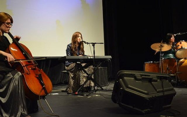 The Hasidic women alternative rock band Bulletproof Stockings performed at Chatham University Saturday, March 22. Performing, from left, are Elisheva Maister, Perl Wolfe and Dalia Shusterman. (Photo courtesy of Rachel Leah Schild)