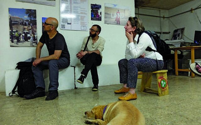 "A year ago, Israeli and Palestinian artists took a joint trip in Israel that included the West Bank. Israeli artist Dror Yaron (left), pictured with Itamar Jobani and Pittsburgh artist Hyla Willis, said his time within the Palestinian territories was ""inspiring."""