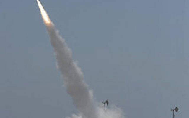The Iron Dome missile defense system launches an intercepting missile near the Gaza border in southern Israel during the first day of Operation Protective Edge. (Photo by David Buimovitch/Flash90)