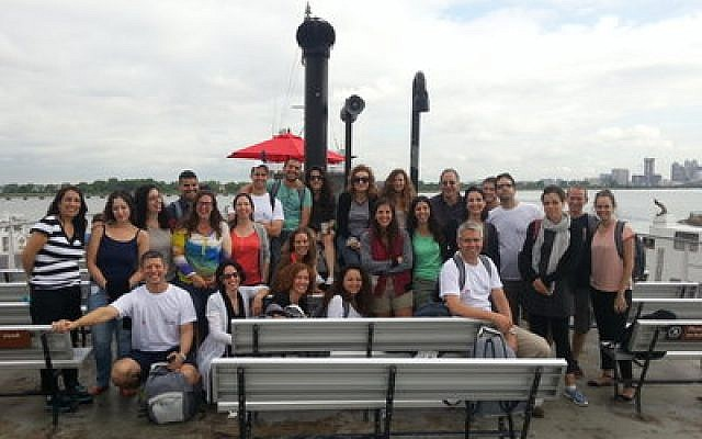 Students of the University of Haifa's Ruderman Program for American Jewish Studies visit Ellis Island as part of their 10-day U.S. trip. (Photo provided by Gur Alroey)