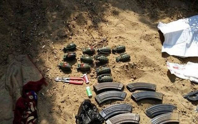 These weapons were found in a Hamas-built tunnel under the Israel-Gaza border, July 24, 2014. (Israel Defense Forces)