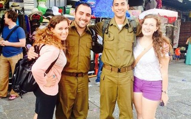 Daniel Cohen, second from left, a lone soldier from Pittsburgh in the IDF. (Photo provided)