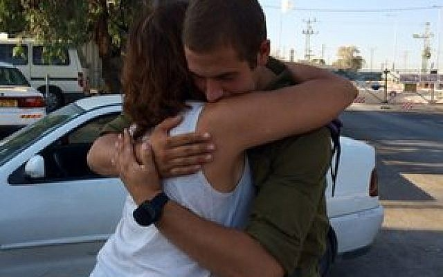 Jackie Goldblum parts with her son, Alon, as he heads back to the army. (Photo provided)