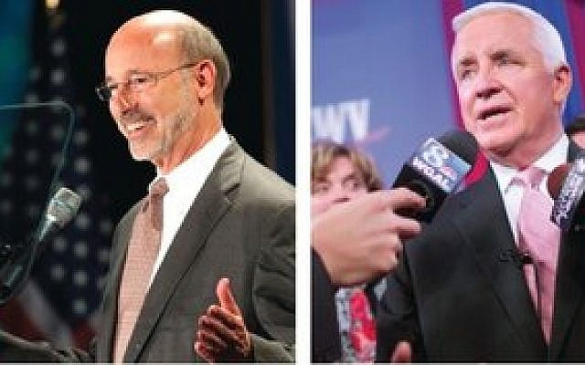 As Election Day nears, it appears Pennsylvania Gov. Tom Corbett (right) is facing an uphill battle against Democratic challenger Tom Wolf. (Photos by Mark Makela/Reuters/Newscom)