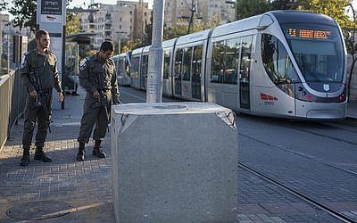 A concrete security barrier at a light rail station in Jerusalem, Nov. 6, 2014. Four people have been killed at light rail stations in two separate attacks in recent weeks. (Yonatan Sindel/Flash90)