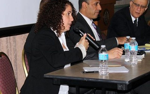 Khawla Rihani, director of Economic Empowerment for Women, makes a point as one of the featured panelists discussing the challenges of being an Arab Israeli. Also pictured are Aiman Saif (center) and Fathi Marshood. (Photo provided by the Pittsburgh Area Jewish Committee)