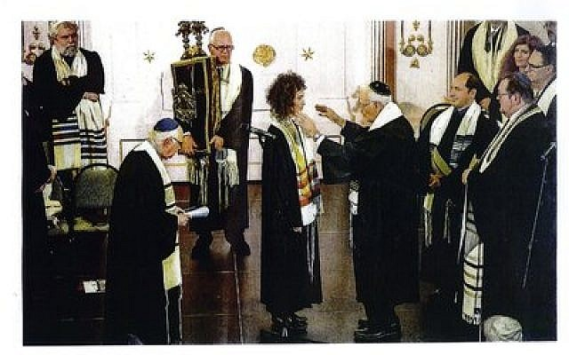Sofia Falkovitch, who was born in Moscow, becomes invested as a cantor at the Abraham Geiger College's rabbinic ordination ceremony in Poland on September 3, 2014. She now serves the progressive community of Luxembourg as its first female cantor. (Photo provided by Rabbi Walter Jacob)