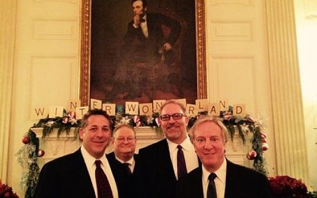 From left: Rabbi Aaron Bisno, Lazar Palnick, Roger Levine and Cliff Levine, all of Pittsburgh, were part of the White House's Chanukah festivities. (Photo provided by Rabbi Aaron Bisno)