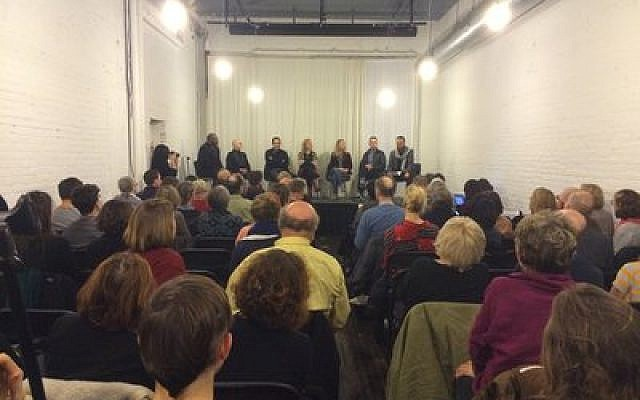 Members of the panel discuss the complexity of Palestinian expression as a Mattress Factory audience of 175 listen. (Photo by Jim Busis)