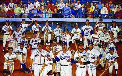 Sandy Koufax is out front in the Ron Lewis painting of Jewish major leaguers. The sale of 500 autographed prints is partly for charity. (Illustration provided by JewishBaseballPlayer.com)
