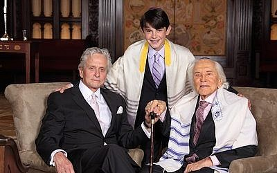 Kirk Douglas (right) with son Michael and grandson Dylan pose for a photo at Dylan's bar mitzvah in May 2014. (Photo provided by Infinity Kornfeld Studios)