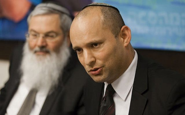 Top photo: Israeli Religious Services Minister Naftali Bennett (right) and Deputy Minister Rabbi Eli Ben-Dahan unveil a series of reforms in religious services in Israel at a news conference in Jerusalem in May 2013. (Photo by Flash 90)