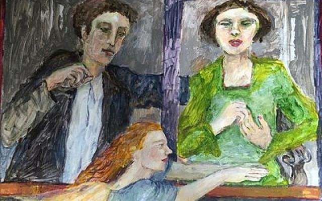 "Jewish artist Susan Winicour finished this piece just before her death in 2013. The painting depicts Susan and her husband,  Jeffrey Winicour, as a young couple — a waiting angel sits just outside of the window. Winicour felt deeply about post-Nazi Germany and produced the piece below with the words ""Died in the Holocaust"" below."