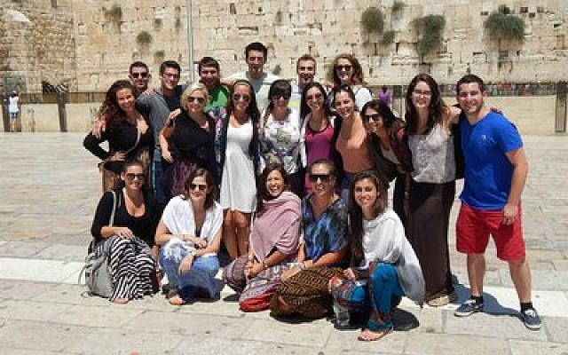 A group of Onward Israel participants from Pittsburgh visited the Western Wall last summer. Locally, Onward Israel collaborates with the Pittsburgh Hillel Jewish University Center. (Photo provided by Danielle Peckman)