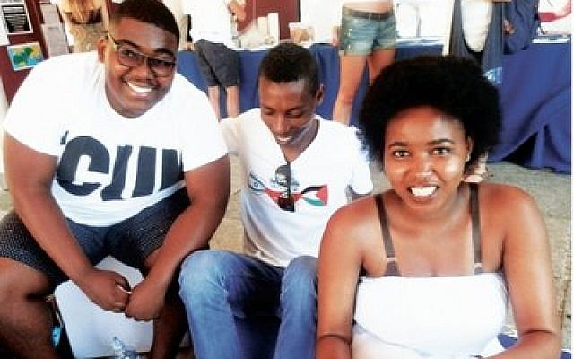 Ethiopian-Israeli Danny Ayanou (center) meets with students during a Confronting Apartheid event at the University of Cape Town in South Africa. (Photo by Danny Ayanou)