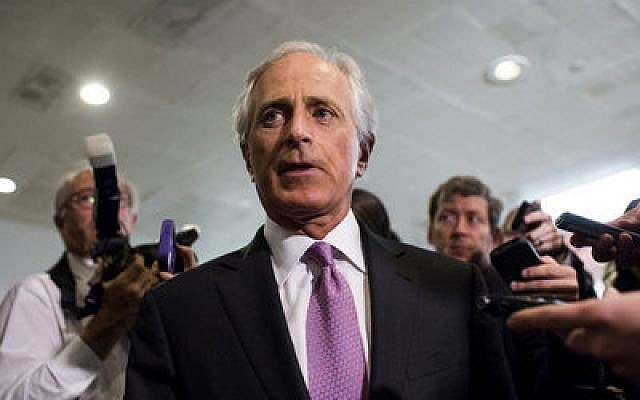 Sen. Bob Corker, Senate Foreign Relations chairman, arrives for a briefing on Iran nuclear negotiations with Secretary of State John Kerry and President Obama's chief  of staff Jack Lew in the Capitol on Tuesday. (Photo By Bill Clark/CQ Roll Call)