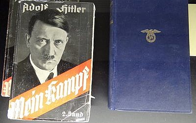"""Copies ofAdolf Hitler's """"Mein Kampf"""" are displayed at the Documentation Center  in Congress Hall in Nuremberg, Germany. (Photo provided by Adam Jones, Ph.D./Wikimedia Commons)"""
