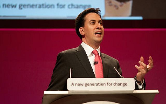 Ahead of the British election, Labour Party leader Ed Miliband (above), who is Jewish, has drawn criticism from his own religious community for his party's support of a Palestinian state. The Conservative Party's David Cameron (below) is the current prime minister. (Miliband photo provided by Ed Miliband. Cameron photo via Wikipedia)