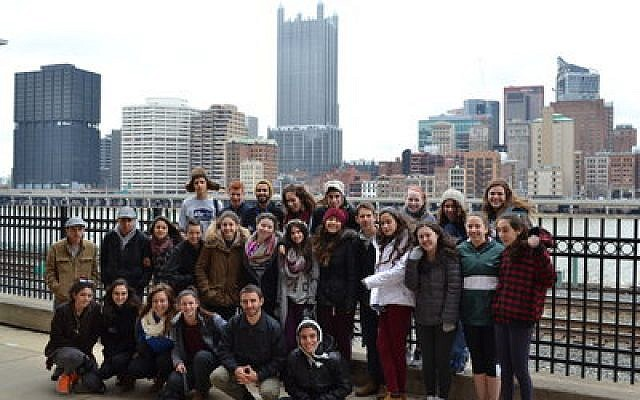 Diller Teen Fellows from Pittsburgh and Karmiel/Misgav join together to learn communal responsibility. (Photo provided by JCC Pittsburgh)