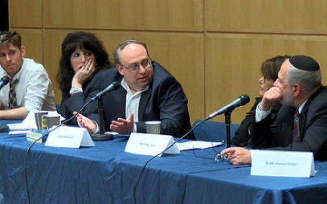 From left: Mordechai Levovitz, executive director of JQY; Naomi Mark, community psychotherapist; Rabbi Nathaniel Helfgot, chair of the Department of Talmud at SAR High School; Lynn Levy, Yeshiva University professor; and Rabbi Shmuel Goldin, former president of the RCA join together to discuss publicly homosexuality and Orthodoxy. (Photo provided by JQY)