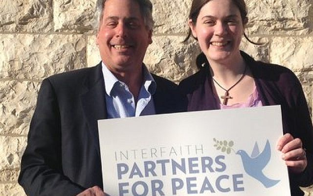 "Rabbi Jamie Gibson and the Rev. Liddy Barlow used their trip to Israel ""to engage  in the issues."" (Photo by Hanna Dershowitz)"