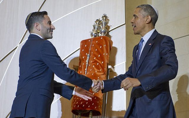 Adas Israel Congregation's Rabbi Gil Steinlauf greets President Obama. (Photo by Ron Sachs)