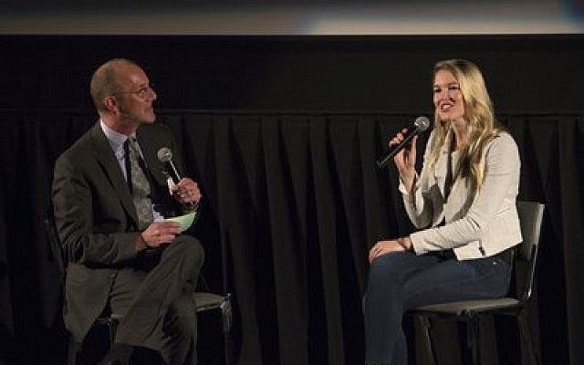 "Ashley Campbell, Glen's daughter, talks with JAA Vice Chair Mitchell Pakler as part of the screening of ""Glen Campbell: I'll Be Me."" (Photo by John Schiller)"