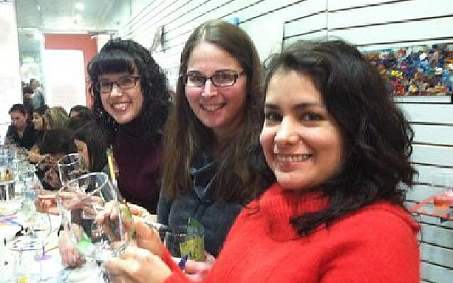 Wineglass painting, hosted by Hadassah's Zohar group, seems to agree with these young women. (Photo provided by Hadassah Greater Pittsburgh)