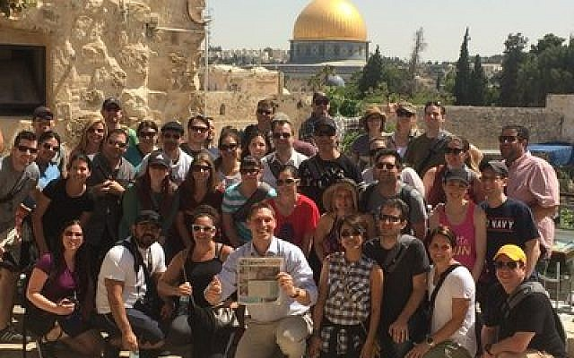The Phoenix group from one of the pilot Honeymoon Israel trips gathers in Jerusalem last month. (Courtesy of Honeymoon Israel)
